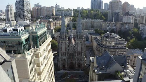 Drone Shows Gothic Style Cathedral in the Summer. Saint Nicolas Church in Kyiv, Ukraine