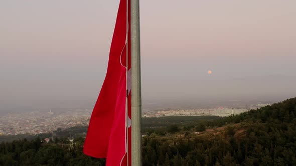 Thumbnail for City Flag And Moon Aerial View
