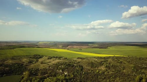 Aerial view of bright green and yellow agricultural farm field on hills with growing rapeseed
