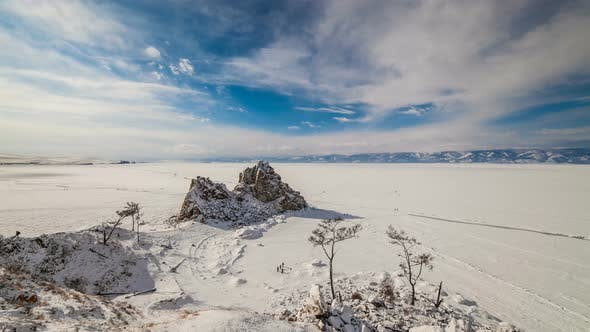 Shamanka Rock on Lake Baikal in Winter.. Timelapse.