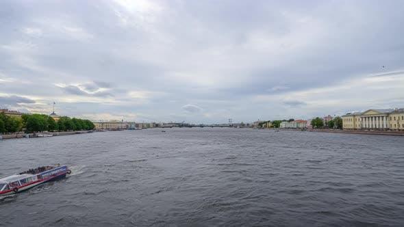 Thumbnail for Timelapse river, saint petersburg, movement of ships along the river