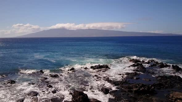 Thumbnail for Waves From the Ocean Beat Against Cliffs in Sunny Day on Maui,hawaii