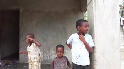 Local African Children in a Poor Village Near a Slum Zanzibar Africa