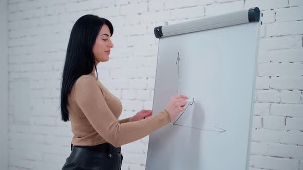 Thumbnail for Beautiful woman drawing graphics with a marker on a board