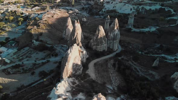 Aerial View of Fairy Chimneys Valleys in Cappadocia Nevsehir Turkey