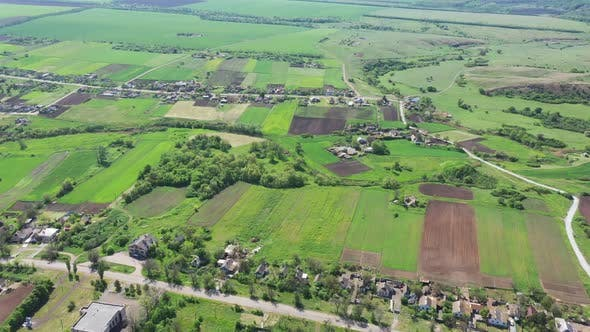 Aerial panorama of agricultural fields and countryside