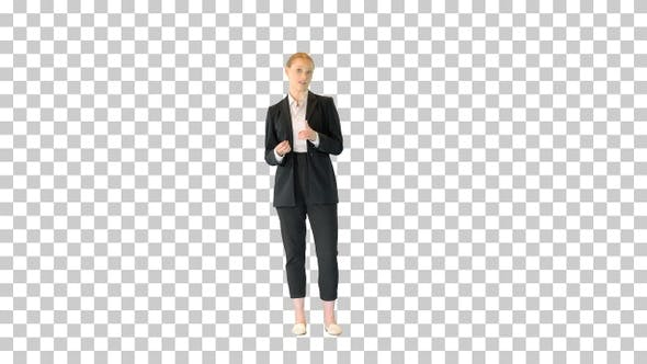 Young blonde businesswoman explaining something, Alpha Channel