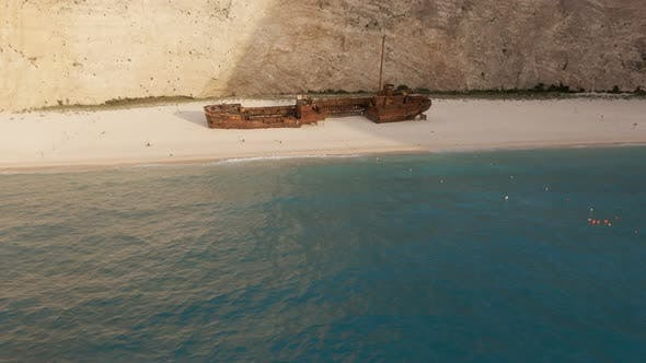Ship in the Bay Navagio 4K