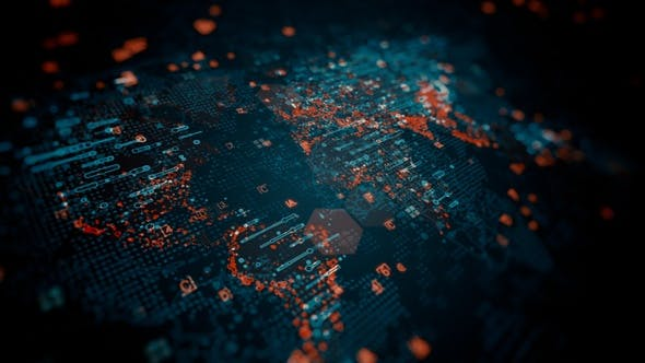 Cover Image for Glowing Global Tech Map with HUD Elements HD