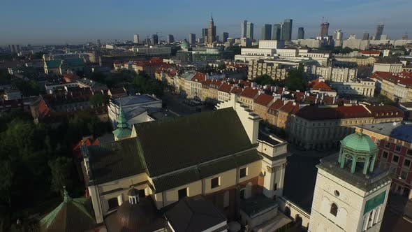 Thumbnail for Aerial view of St Anne's Church and Observation deck in Warsaw