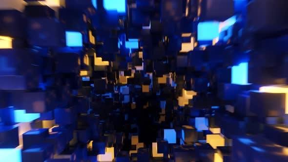 Abstract Flying in Futuristic Corridor