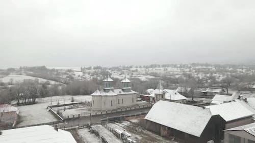4k Drone Shot Small Village Winter Near Church