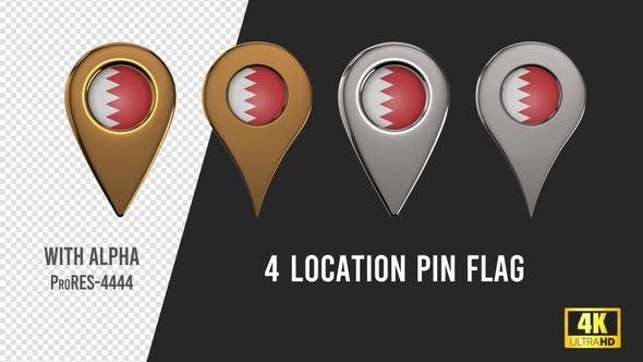 Bahrain Flag Location Pins Silver And Gold