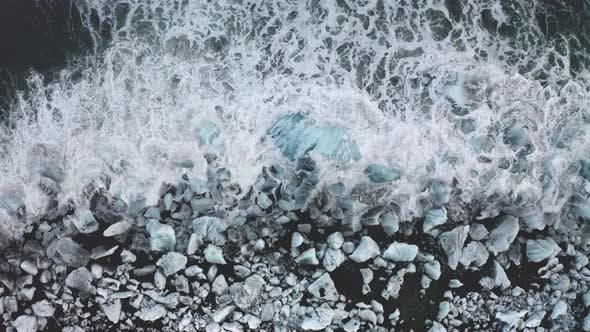 Thumbnail for Aerial View of a Diamond Beach and Many Ice Floes. Iceland. Winter 2019