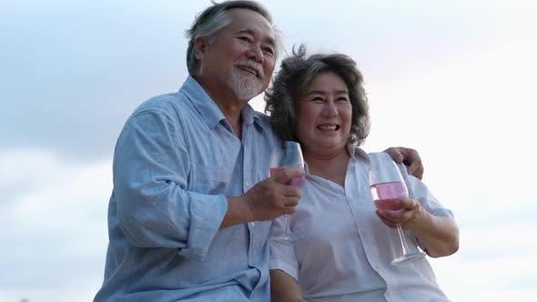 Senior adult man and woman happy life