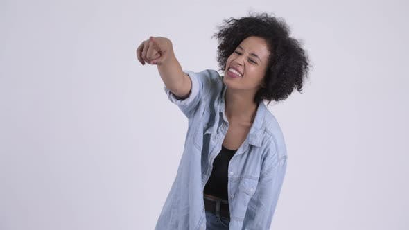 Thumbnail for Happy Young Beautiful African Woman Laughing and Pointing Finger