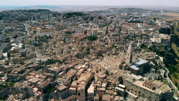 Panoramic View of Ancient Town of Matera in Sanny Day, Basilicata, Southern Italy