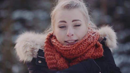 Close Up of Freezing Woman Outside