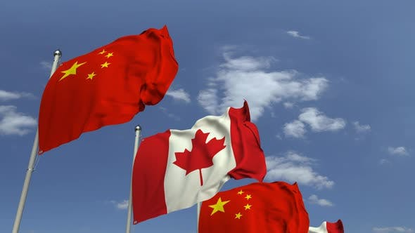 Thumbnail for Row of Waving Flags of Canada and China