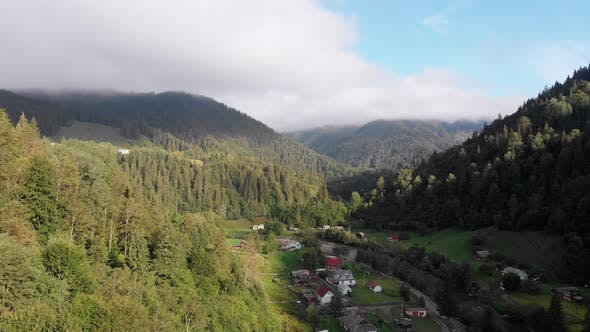 Thumbnail for Aerial View of the Carpathian Mountain Valley with Green Meadows and Trees