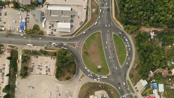 Thumbnail for Aerial View, Roundabout, Cars Parked on the Roundabout. Modern Motor Road in the City, Parking