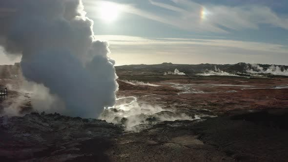Thumbnail for Aerial View of Geothermal Springs in Iceland in Early Spring