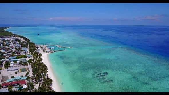 Thumbnail for Aerial scenery of exotic island beach voyage by aqua blue water and white sand background of journey