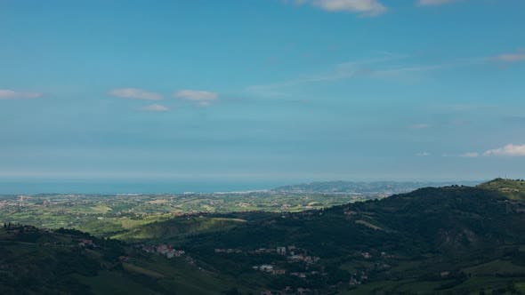 Thumbnail for Time lapse looking out over San Marino towards the sea