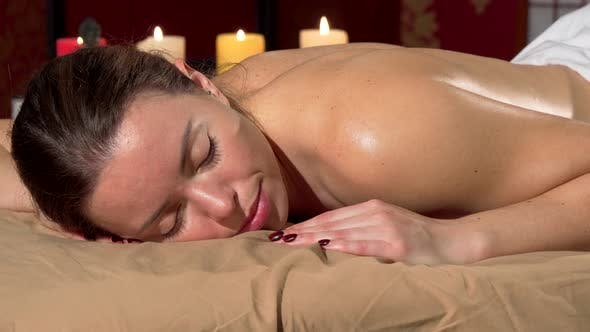 Thumbnail for Happy Woman Smiling To the Camera, Waking Up After Relaxing Massage