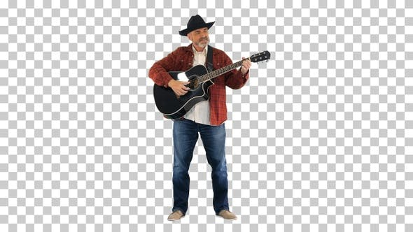 Man in cowboy hat playing on guitar and singing, Alpha Channel