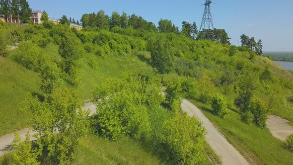 Thumbnail for Just Married Couple on Hairpin Curves on Hill Bird Eye View
