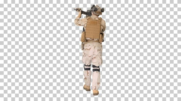 Thumbnail for Armed man in camouflage with assault rifle, Alpha Channel