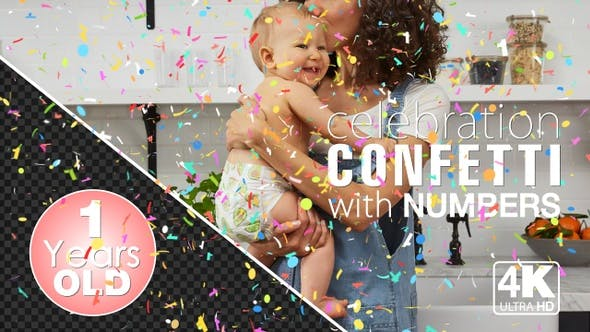 Thumbnail for 1st Birthday And Anniversary Celebrations Confetti Particles With Number One