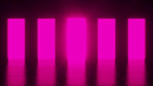 Pink light shines from five doorways in a dark room