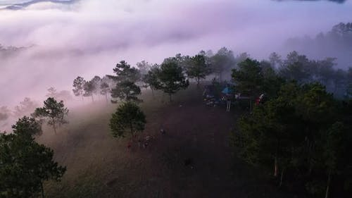 Panoramic view, foggy morning, and amazing clouds sky