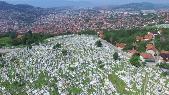 Thumbnail for Flying over Bosnian town with Muslim cemeteries