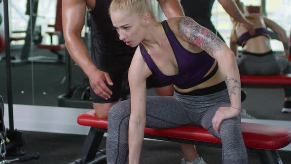 Thumbnail for Woman Working Out with Dumbbells in Gym