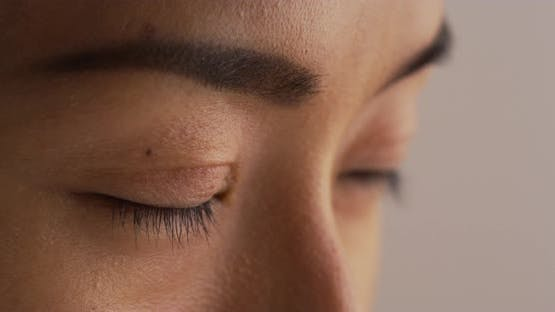 Close up of japanese woman's face