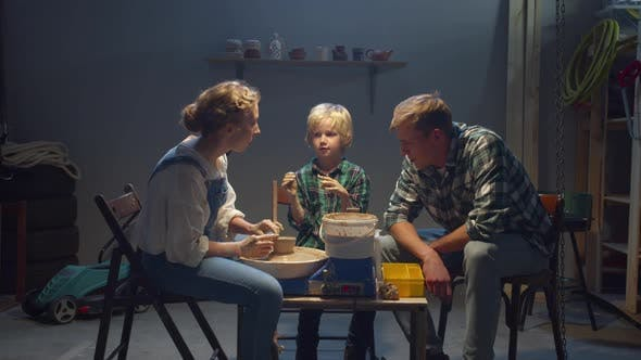 Thumbnail for Amazing Hobbies. Mom, Dad and Son Are Engaged in Pottery