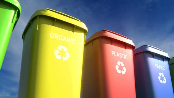 Thumbnail for Multi-colored Plastic Garbage Bins with Waste Type Labels and Recycle Logos