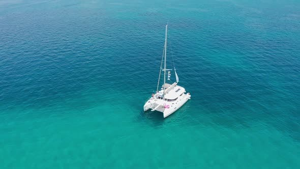 Thumbnail for Drone Footage Aerial Top View of Catamaran Sailing in the Open Sea