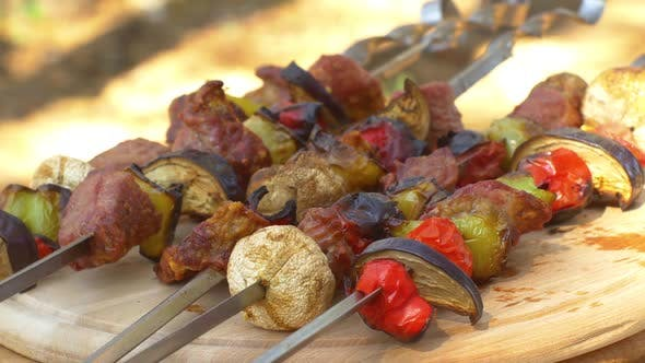 Thumbnail for Gourmet Barbecue on Ooden Chopping Board, Rotation