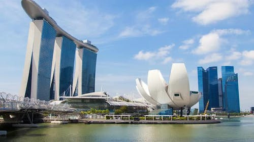 Art Science Museum at Marina Revealing the City Skyline in Singapore Timelapse