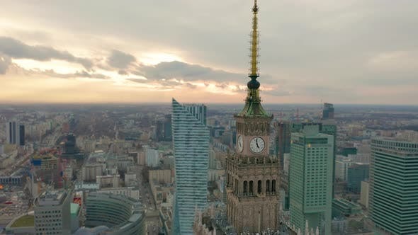 Thumbnail for Palace of Culture and Science Tower and Warsaw Panorama, Poland. Aerial View