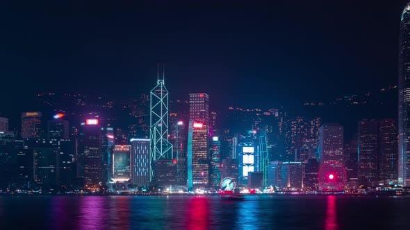 Thumbnail for Hong Kong modern city twilight at night at riverside.