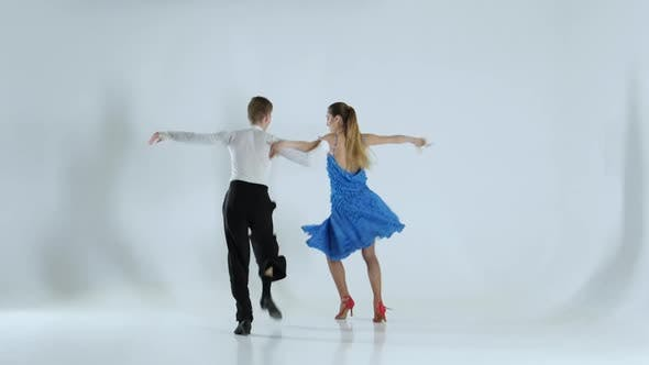 Thumbnail for Couple of Graceful Dancers Perform Ballroom on White Background, Shadow