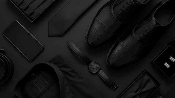 Thumbnail for Elegant Man Clothes Concept. Set of Black Wardobe and Accessories for Official Party Evening Meeting