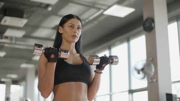 Cover Image for Young Attractive Girl Training with Barbell in the Gym Portrait Sport