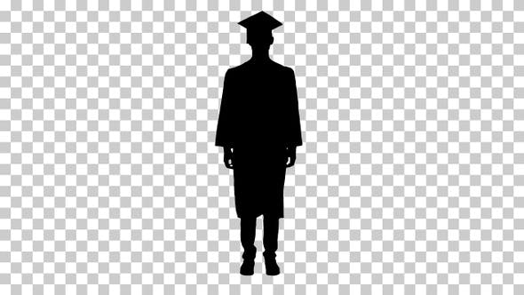 Silhouette man with graduation gown, Alpha Channel
