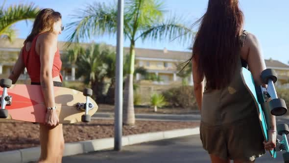 Thumbnail for Two Girls Walking at Sunset Smiling with Boards for Skate Board Along the Path in the Park with Palm